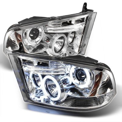 Dodge Ram 2009-2016 Clear CCFL Halo Projector Headlights LED DRL