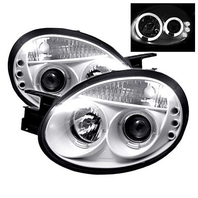 Dodge Neon 2003-2005 White Dual Halo Projector Headlights with Integrated LED
