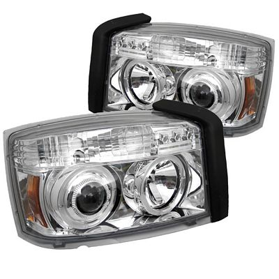 Dodge Dakota 2005-2007 Clear Dual Halo Projector Headlights with Integrated LED