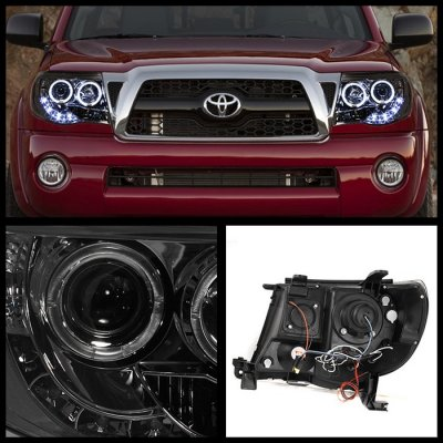 Toyota Tacoma 2005 2017 Smoked Dual Halo Projector Headlights Led Drl