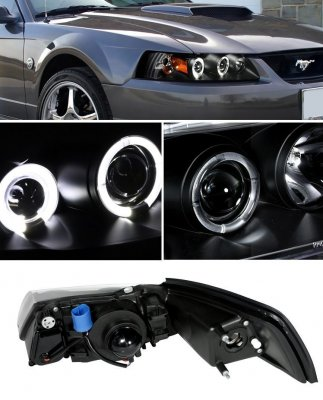 Ford Mustang 1999-2004 Black Dual Halo Projector Headlights