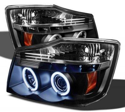Nissan Titan 2004-2007 Black CCFL Halo Projector Headlights with LED