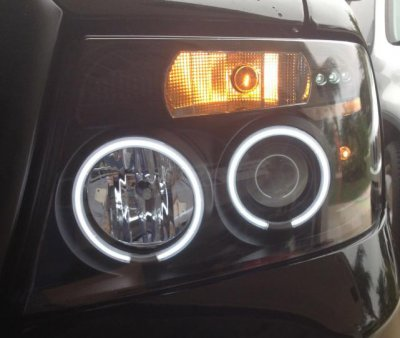 Ford F150 2004-2008 Black Dual CCFL Halo Projector Headlights with LED