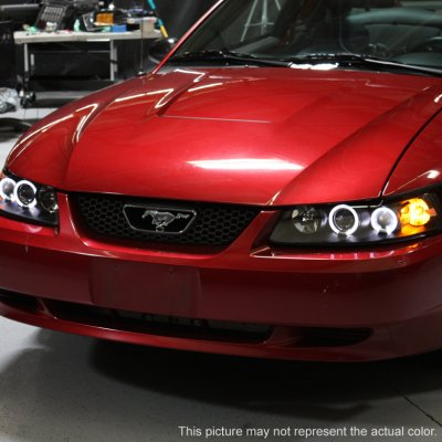 Ford Mustang 1999 2004 Smoked Dual Halo Projector Headlights