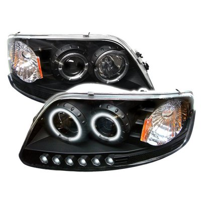 Ford F150 1997-2003 Black CCFL Halo Projector Headlights with LED
