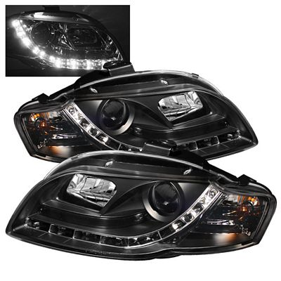 Audi A4 2006-2008 Black Projector Headlights with LED Daytime Running Lights