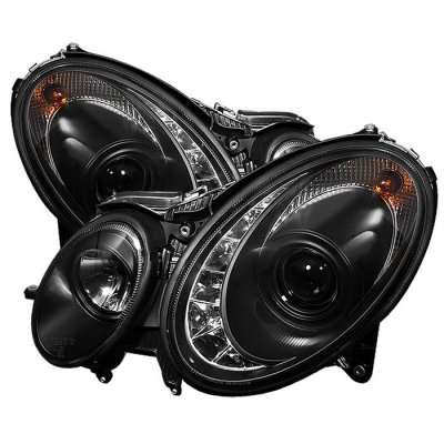 Mercedes Benz E Class 2003-2006 Black Projector Headlights with LED DRL