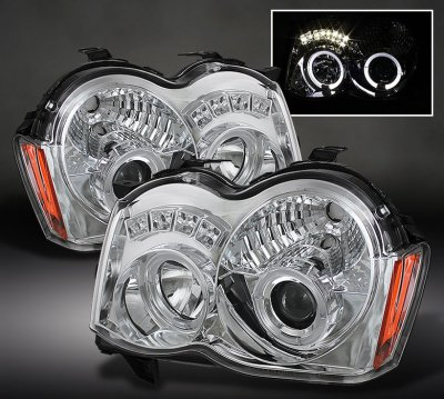 Jeep Grand Cherokee 2008 2010 Clear Halo Projector Headlights With Led A103whwi101 Topgearautosport