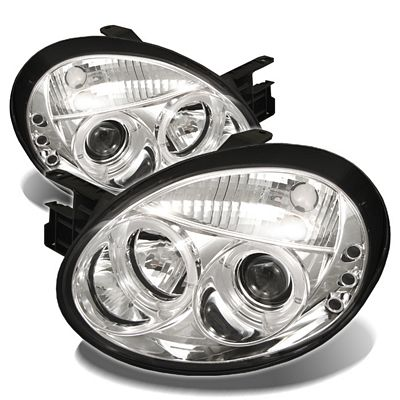 Dodge Neon 2003-2005 Clear Dual Halo Projector Headlights with Integrated LED