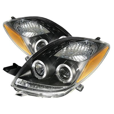 Toyota Yaris Coupe 2006-2008 Black Dual Halo Projector Headlights with Integrated LED