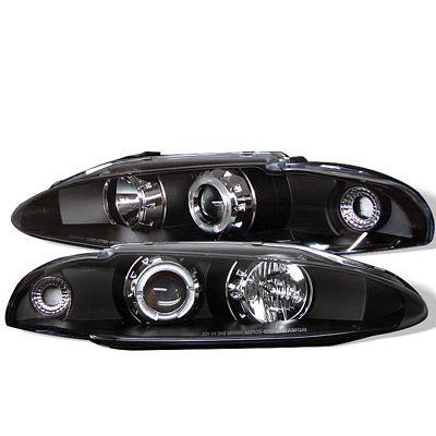 Mitsubishi Eclipse 1995-1996 Black Halo Projector Headlights