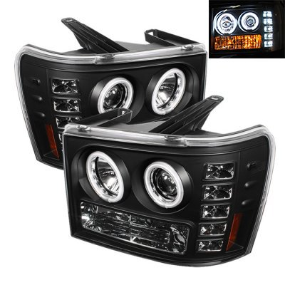 GMC Sierra 2007-2013 Black CCFL Halo Projector Headlights with LED