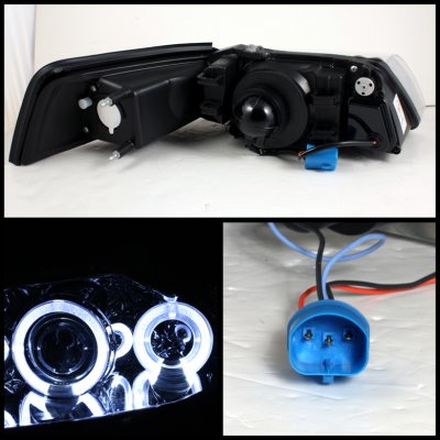 Ford Mustang 1999-2004 Smoked Dual Halo Projector Headlights