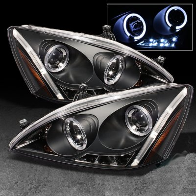 Honda Accord 2003 2007 Black Halo Projector Headlights With LED Daytime  Running Lights