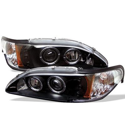 Ford Mustang 1994-1998 Black Dual Halo Projector Headlights with Integrated LED