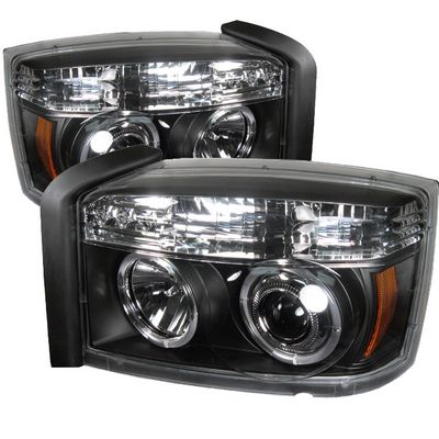 Dodge Dakota 2005-2007 Black Dual Halo Projector Headlights with Integrated LED