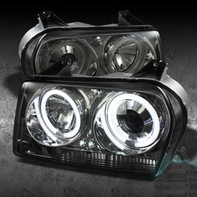 Chrysler 300 2005 2008 Smoked Ccfl Halo Projector Headlights With Led A103krl5101 Topgearautosport