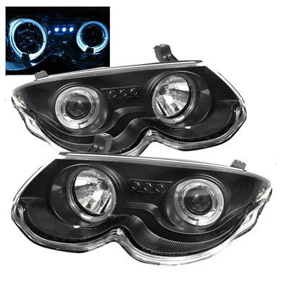 Chrysler 300M 1999-2004 Black Dual Halo Projector Headlights with Integrated LED