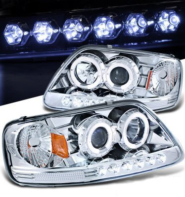 Ford F150 1997-2003 Clear Halo Projector Headlights with LED