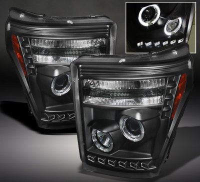 2012 Ford F250 Super Duty Black Halo Projector Headlights with LED DRL