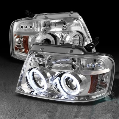 Ford F150 2004-2008 Clear Dual CCFL Halo Projector Headlights with LED