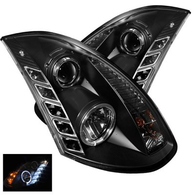 Infiniti G35 Coupe 2003-2006 Black Halo Projector Headlights with LED Daytime Running Lights