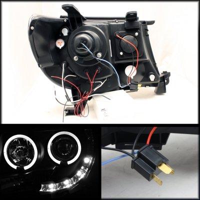 Toyota Tacoma 2005-2011 Black Dual Halo Projector Headlights LED DRL