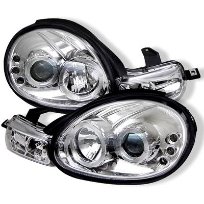 Dodge Neon 2000-2002 Clear Dual Halo Projector Headlights with Integrated LED