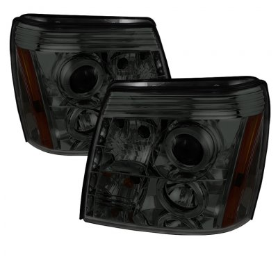 Cadillac Escalade 2002-2006 Smoked Halo Projector Headlights with LED