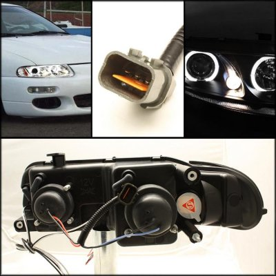 Dodge Avenger 1997-2000 Clear Dual Halo Projector Headlights with Integrated LED