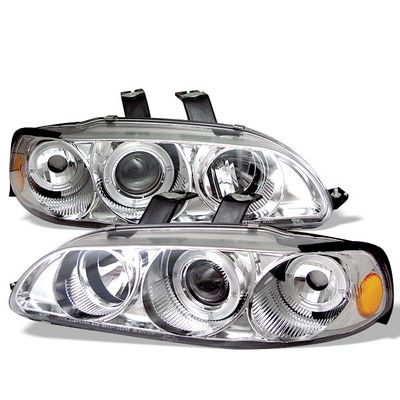 Honda Civic Sedan 1992-1995 Clear Dual Halo Projector Headlights with Corner Lights