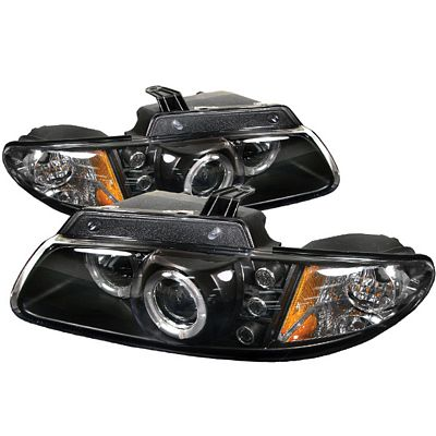 Dodge Caravan 1996-2000 Black Dual Halo Projector Headlights with Integrated LED