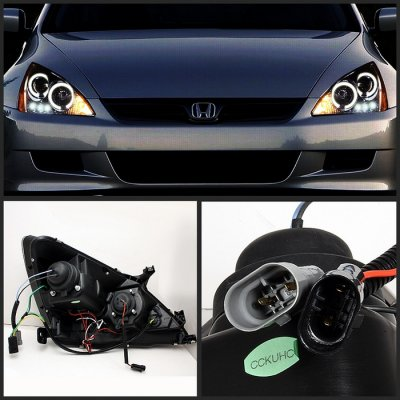 Awesome ... Honda Accord 2003 2007 Smoked Halo Projector Headlights With LED DRL