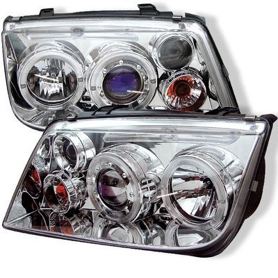 VW Jetta 1999-2004 Clear Dual Halo Projector Headlights with LED