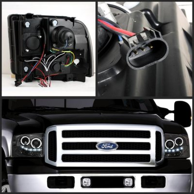 Ford F250 Super Duty 2005-2007 Smoked Halo Projector Headlights with LED