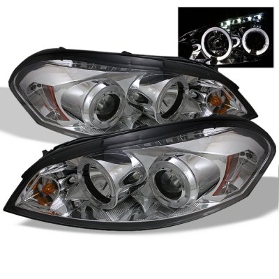 Chevy Impala 2006-2011 Clear Dual Halo Projector Headlights with LED