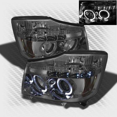 Nissan Titan 2004 2012 Smoked Halo Projector Headlights