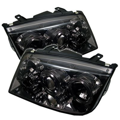 VW Jetta 1999-2004 Smoked Dual Halo Projector Headlights with LED