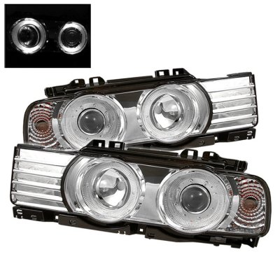 BMW 7 Series 1988-1994 Clear Dual Halo Projector Headlights
