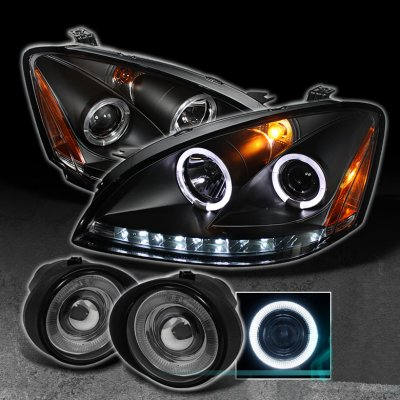 Nissan Altima 2002 2004 Black Halo Projector Headlights