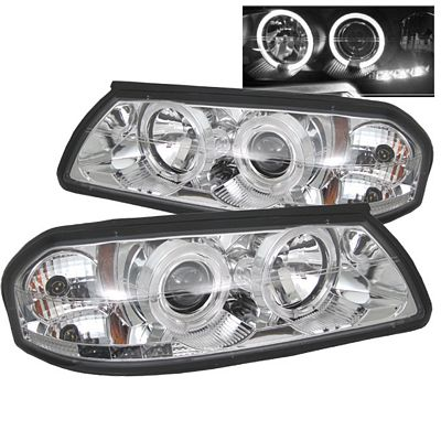 Chevy Impala 2000-2005 Clear Dual Halo Projector Headlights with Integrated LED