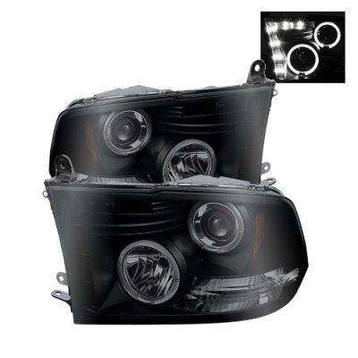 Dodge Ram 3500 2010-2016 Black Smoked Halo Projector Headlights LED DRL