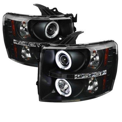 Chevy Silverado 2500HD 2007-2014 Black CCFL Halo Projector Headlights with LED