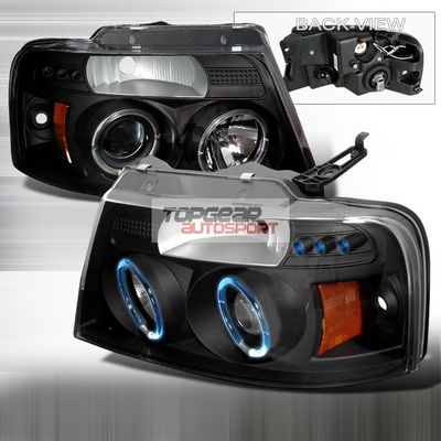 Ford F150 2004-2008 Black Dual Halo Projector Headlights with LED