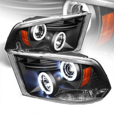 Dodge Ram 2009-2016 Black CCFL Halo Projector Headlights LED DRL