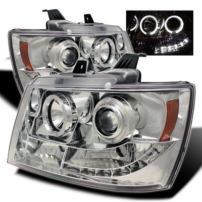 Chevy Tahoe 2007-2014 Clear Halo Projector Headlights with LED