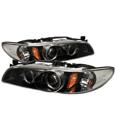 Pontiac Grand Prix 1997-2003 Black Dual Halo Projector Headlights with Integrated LED