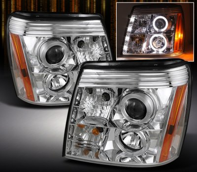 Cadillac Escalade 2003-2006 Clear Halo Projector Headlights with LED