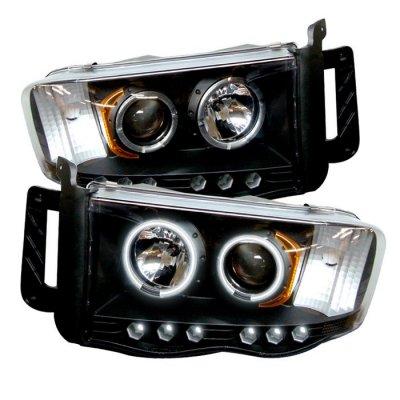 Dodge Ram 2500 2002-2005 Black CCFL Halo Projector Headlights with LED