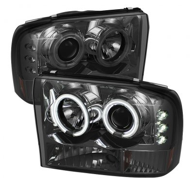 Ford Excursion 2000-2004 Smoked CCFL Halo Projector Headlights with LED